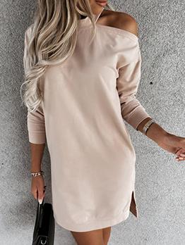 Seductive Solid Cold Shoulder Short Sleeve Dress
