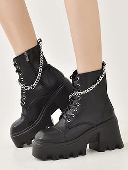 British Style Round Toe Zipper Platform Boots