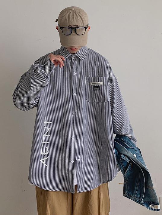 Korean Style Striped Letter Shirts For Men