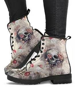 Printed Skull Fashion Vintage Women Fall Boots