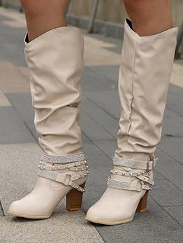 Fashion American Style Rhinestone Rivet Combat Boots