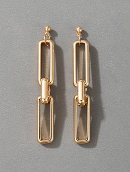 Retro Style Golden Hollow Out Geometry Long Earrings