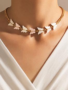 Elegant Butterfly Alloy Designed Short Necklaces