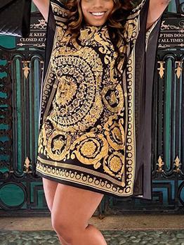 Vintage Loose Bat Sleeve Short Dress