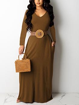 Sexy V Neck Solid Maxi Dress