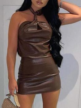 Sexy Backless Skinny Halter Short Dress