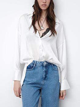 Autumn White Silk Button Up Blouse