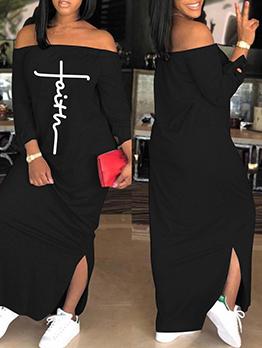 Off Shoulder Casual Long Sleeve Maxi Dress Women