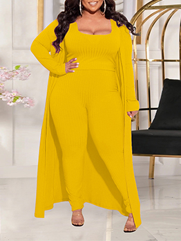 Solid Plus Size Casual Three Pieces Trouser Set