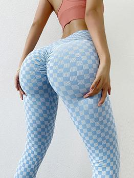 Plaid Butt Lift Comfy Wear Active Yoga Pants Legging