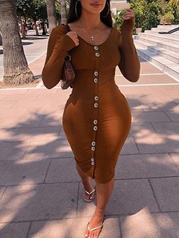 Euro Solid Bodycon Long Sleeve Midi Dress