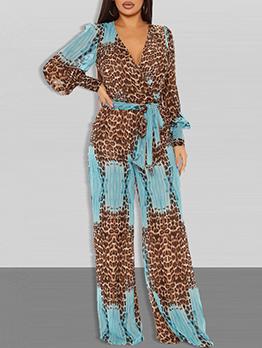 Chiffon Casual Leopard Fashion V Neck Jumpsuits