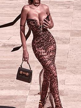 Sexy Leopard Low-Cut Gauze Maxi Dress