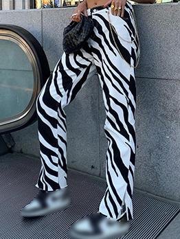 Modern Animal Print Straight Long Pant