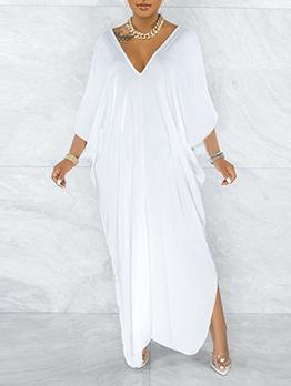 Tempting Pure White V Neck Slit Maxi Dress