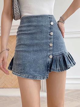 Sweet Inclined Buttons Ruffles Denim Skirt