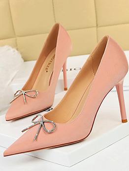 Korean Style Sweet Fashion Rhinestone Slip On Heels