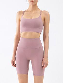 Sporty Solid Backless Half Pant Yoga Sets