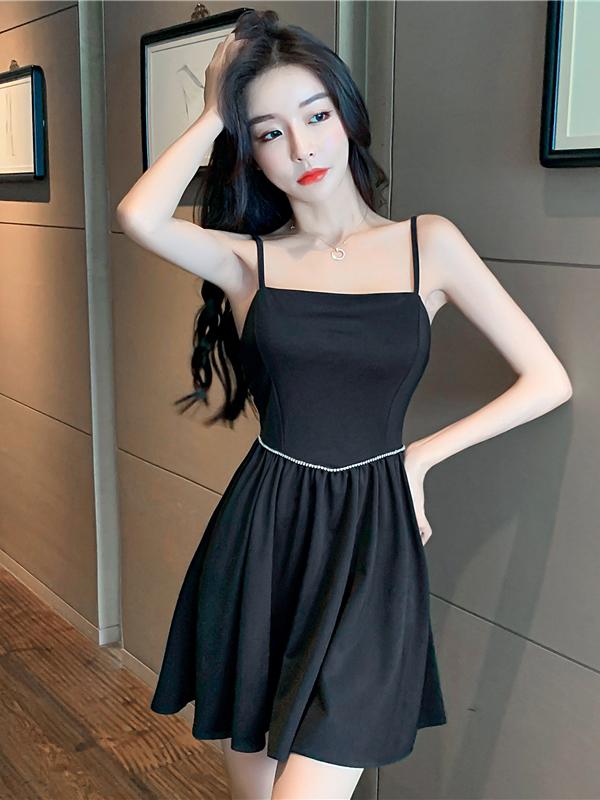 Sexy Black Spaghetti Strap Rhinestone Sleeveless Dress