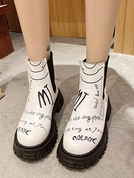 British Style Graffiti Fashion Trending Ankle Boots