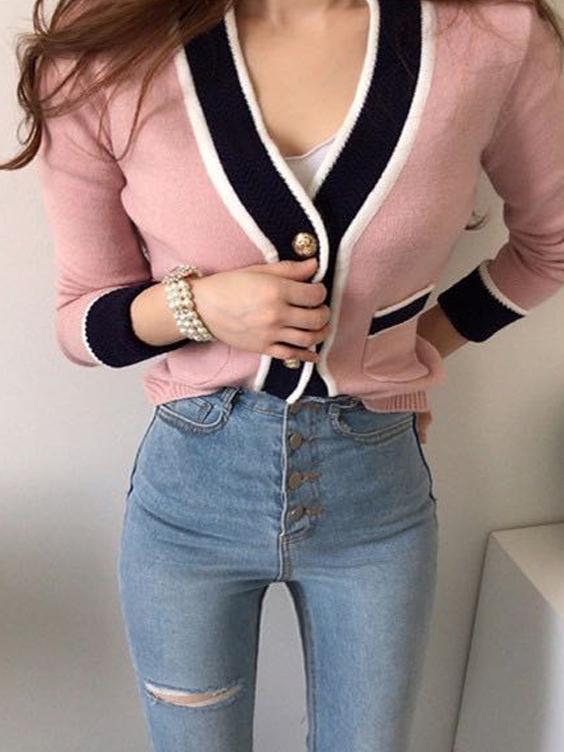 Cozy Contrast Color Pocket Cardigan Coat For Women