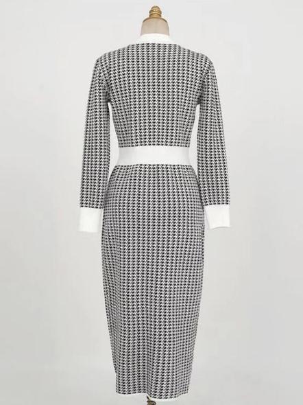Fall V Neck Houndstooth Long Sleeve Midi Dress