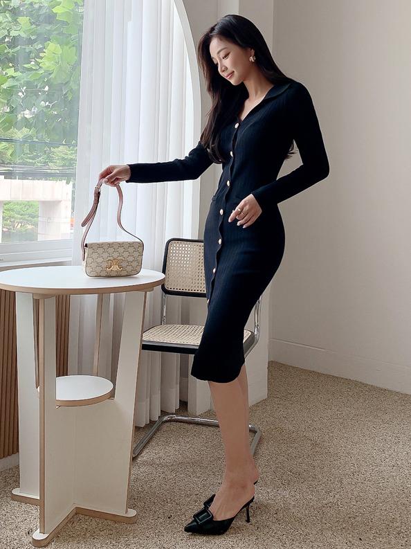 Workout Knitting V Neck Long Sleeve Midi Dress