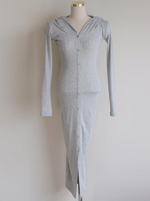 Casual Solid Hooded Collar Long Sleeve Midi Dress
