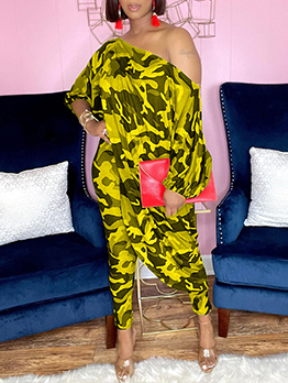 Plus Size Camouflage Two Piece Outfits