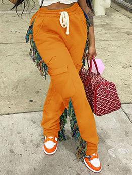 Casual Tassel Drawstring Loose Long Pant For Women