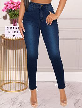 Trendy Solid Hollow Out Tie Wrap Plus Size Jeans
