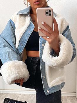 Casual Plush Patchwork Winter Denim Jacket Women