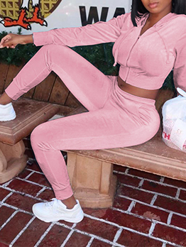 Casual Stylish Hooded Collar Solid Tracksuits Set