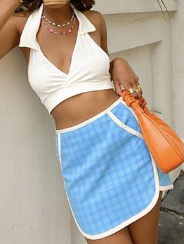 Adorable Plaid Sky Blue High Waisted Skirt