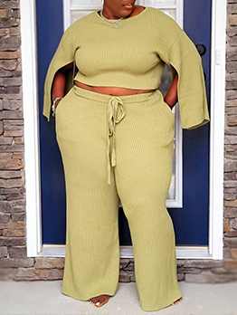 Solid Casual Plus Size Women Two Pieces Outfit