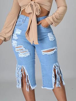 Fashion Hollow Out Zip-Up Denim Short Pants
