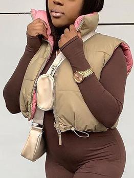 Winter Solid Zipper Down Sleeveless Down Coats