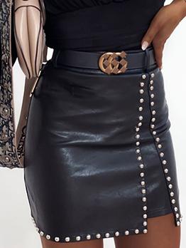 Fashion Beading Sexy Sheath Leather Skirt For Women