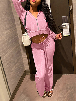 Casual Solid Color Long Sleeve Matching Tracksuit
