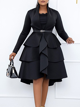 Vintage Patchwork Black Long Sleeve Plus Size Dress