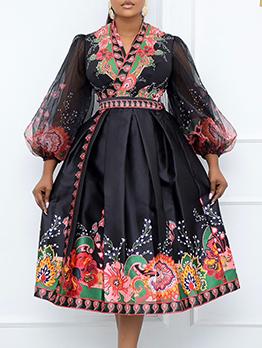 Printed Black V Neck Plus Size Maxi Dress