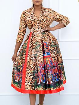 Leopard V Neck Plus Size Loose Maxi Dress