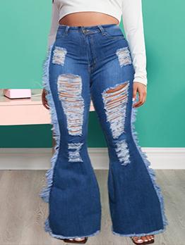 Street Ripped Bootcut Tassel Plus Size Denim Jeans