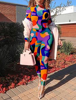 Multicolored Print Long Sleeve Tight Jumpsuit