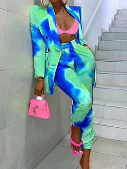 Tie Dye Fashion Long Sleeve Blazer Coat And Pants Set