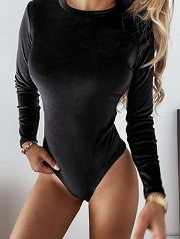 Modern Solid Long Sleeve Round Neck Bodysuit