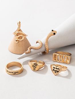 Popular Letter Heart Snake Six Piece Ring Set