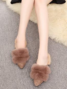 Korean Style Fur Point Toe Mules Shoes