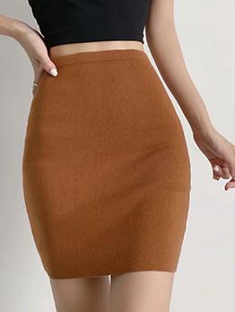 Pure Color Elastic Fly Skinny Short Skirt