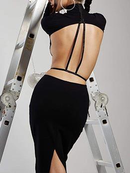 Charming Plain Black Backless Long Sleeve Dress